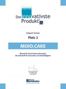 Urkunde für den 2. Platz als innovativstes Produkt 2018 beim Pharmabarometer.
