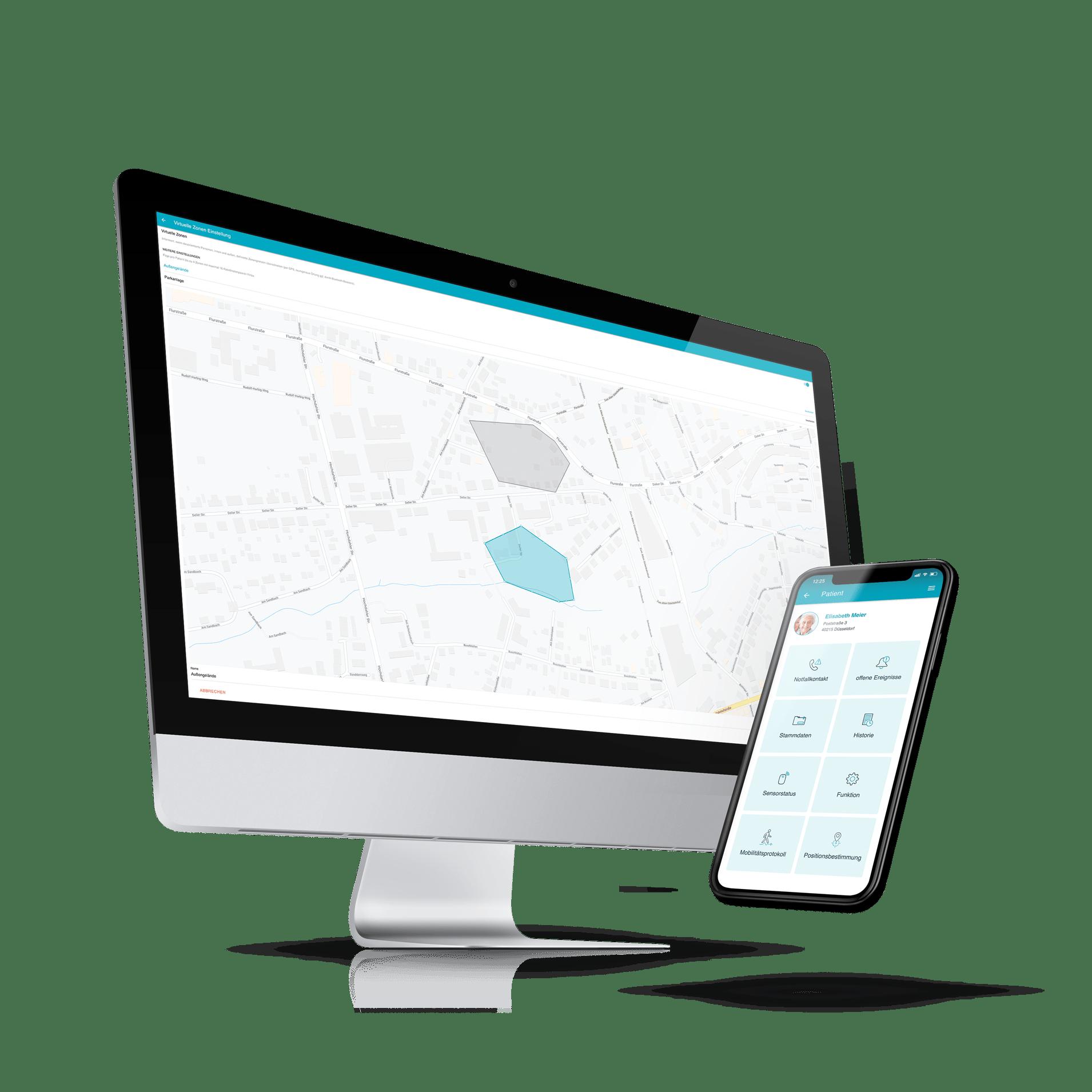 Desktop- und Smartphoneansicht der moio.care App