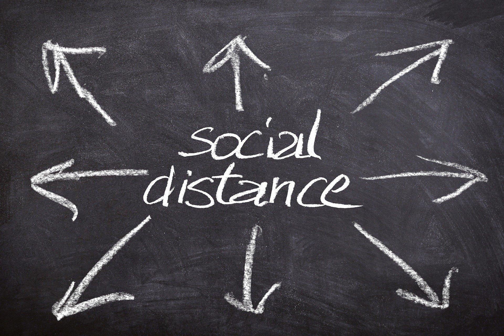 Schriftzug Social Distancing