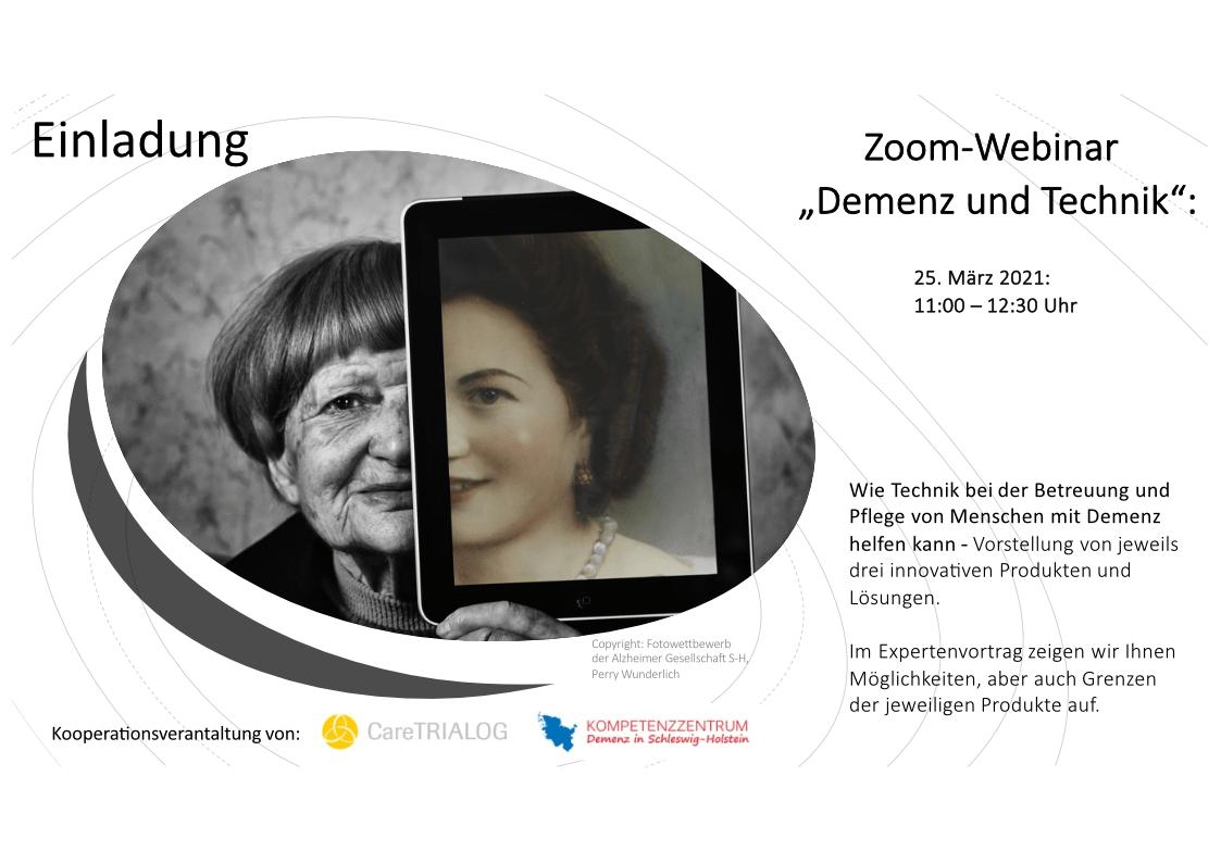 Einladung zur Veranstaltung Demenz und Technik von CareTRIALOG